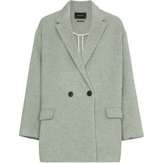 Isabel Marant filey wool blend coat (3.470 RON) ❤ liked on Polyvore featuring outerwear, coats, isabel marant coat, wool blend coat, green coat and isabel marant