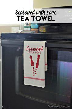 Seasoned with Love Tea Towel idea. Cute kitchen gift idea!