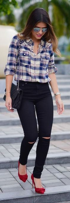Plaid And Black Denim Fall Inspo by The Girl From Panama