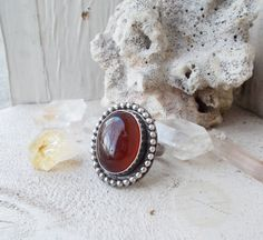 Carnelian sterling silver ring oval cabochon by CultivatedDreams