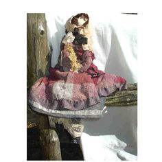 Winter Wheat Primitive Doll  in heavy flannels by rusticrevivals,