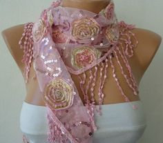 Pink Sequin Scarf, $19.00 by Fatwoman