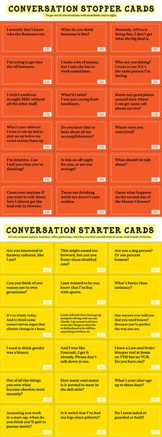 I'm Just Going To Print These And Keep Them In My Pocket... Conversation starters can be so helpful