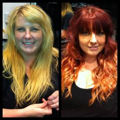 Before and after from a colour in our Wollongong #salon. How amazing does her #hair look? Book online at http://bit.ly/WFb4jJ #blowdrybar