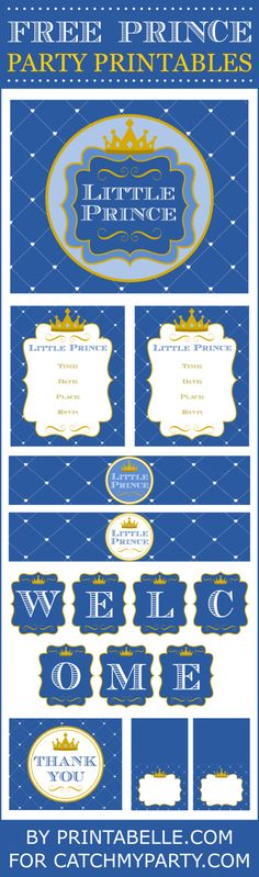 Free Prince party printables perfect for a boy baby shower or boy 1st birthday! Rhs