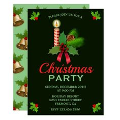 Elegant Holly and Candle | Christmas Party Invite. Invite your guests with this festive theme Christmas party invitation featuring a beautiful candle and Christmas holly with elegant typography against a dark green background.  #ad