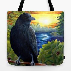 29.99$  Buy here - http://vioil.justgood.pw/vig/item.php?t=s7cv4ge3295 - Tote Bag All over print Made in USA Bird 63 Crow Raven art painting by L.Dumas