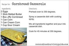 mexican cornbread casserole This Cornbread Casserole is one of those melt-in-your-mouth recipes that is perfect to take along or make for any summer potluck or picnic. Cornbread Casserole, Casserole Dishes, Casserole Recipes, Cornbread Mix, Squash Casserole, Entree Recipes, Cooking Recipes, Cooking Ideas, Pasta Recipes