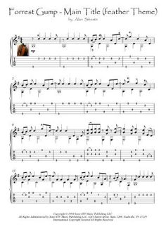 Forrest Gump - Feather Theme guitar score download  Forrest Gump - Main Title (feather Theme): 'Our destiny is only defined by how we deal with the chance elements to our life and that's kind of the embodiment of the feather as it comes in. Here is this thing that can land anywhere and that it lands at your feet.' For Guitar solo (classical guitar or acoustic guitar fingerstyle).   With Tablature. Easy to Early intermediate.  Pages: two pages. Great Guitar Songs, Guitar Tabs Songs, Music Tabs, Guitar Sheet Music, Guitar Solo, Acoustic Guitar, Fingerstyle Guitar, Little Prayer, Pop Hits