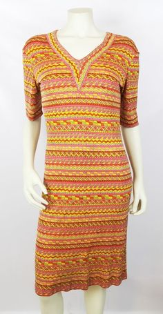 Emilio Pucci Vintage Orange Multicolor Geometric Print Silk Jersey Dress Size 12 #EmilioPucci #Sheath #Cocktail