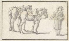 Herman Saftleven | Man staand naast twee paarden, Herman Saftleven, 1619 - 1685 |