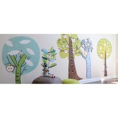 Pop and lolli Enchanted Forest trees kids fabric wall decals by Couture Deco