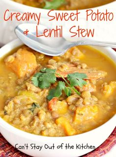 Creamy Sweet Potato and Lentil Stew - this tasty and savory soup is chocked full of veggies!