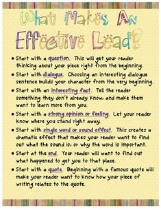 This is a good anchor chart to get students used to using creative leads. Teachers could find books that use creative leads and allow students to brainstorm their own.