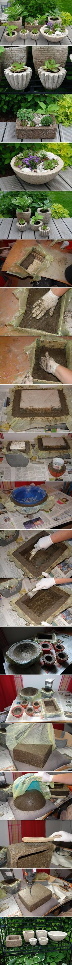 DIY Variety of Cement Planters