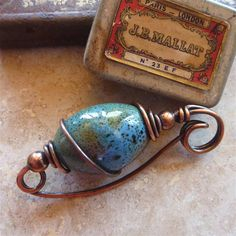 Copper Wire Shawl Pin with Big Turquoise by SharilynMillerDesign