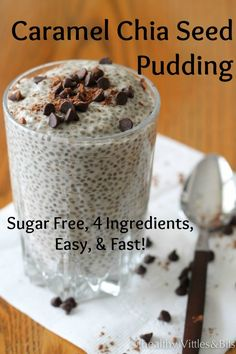 Caramel Chia Seed Pudding - only 4 ingredients, easy as pie, and tastes great! Perfect for anyone doing a low carb diet or those with diabetes! Keto Chia Seed Recipes, Healthy Diet Recipes, Healthy Foods To Eat, Low Carb Recipes, Chia Seed Recipes For Weight Loss, Healthy Eating, Healthy Menu, Keto Foods, Healthy Smoothies