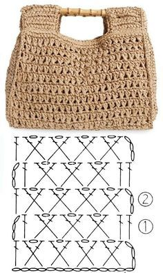 Crochet bags with stitch chart gráfico Facing The Sea T-shirt Au Crochet, Crochet Shirt, Crochet Cross, Easy Crochet, Crochet Stitches, Free Crochet, Crochet Flower, Crochet Bag Tutorials, Crochet Basics