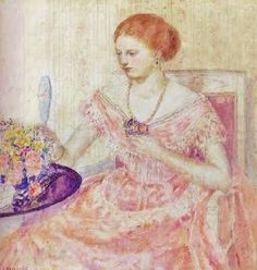 Frederick Frieseke (1874-1939) Woman with Mirror