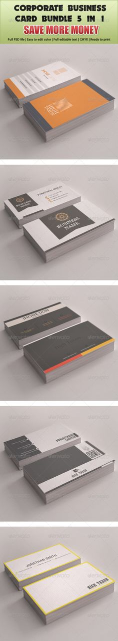 "Corporate Business Card Mega Bundle 5 in 1  #GraphicRiver        Corporate Business Card Mega Bundle 5 in 1  Fully Editable fully layered files  3.5"" x 2"" (3.75"" x 2.25"" with bleeds )  300 DPI  CMYK Colors  Font Used link Included Main File   Print Ready  Individual Link    Corporate Business Card 01   Corporate Business Card 02   Corporate Business Card 03   Corporate Business Card 04   Corporate Business Card 05      Created: 31May13 GraphicsFilesIncluded: PhotoshopPSD #InDesignINDD…"