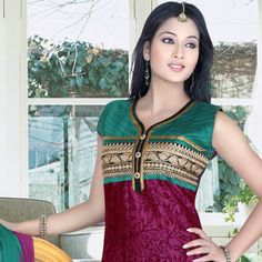 Wine Chanderi Silk Readymade Anarkali Churidar Kameez