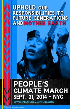 The People's Climate March will be held on Sunday, September 21 in New York City starting at 11:30 AM. People will assemble at Central Park West, between 65th and 86th streets. Indigenous Peoples will be marching at the front of the march assembling around 65th Street. See march line-up for more information: http://peoplesclimate.org/lineup/