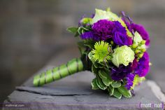 Purple & lime wedding bouquet