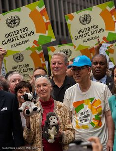 Jane Goodall, Al Gore, and UN Secretary General Ban Ki Moon at the People's Climate March, NYC, September 21, 2014