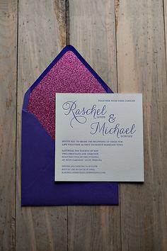 Purple and Pink Glitter Wedding Invitation