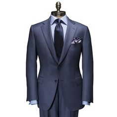 Blue Birdseye Suit by Paul Stuart - Pinned from iCatalog™ Sharp Dressed Man, Well Dressed Men, Mens Fashion Suits, Mens Suits, Suit Combinations, Mode Costume, Classic Suit, Tie And Pocket Square, Pocket Squares