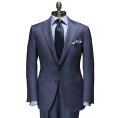 Blue Birdseye Suit by Paul Stuart - Pinned from iCatalog™ Gentleman Mode, Gentleman Style, Mens Fashion Suits, Mens Suits, Suit Combinations, Classic Suit, Mode Chic, Wool Suit, Suit And Tie