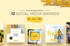 YELLOW AUTUMN COLLECTION - 12 SOCIAL MEDIA DESIGNS Stylish and beautiful 36 promo banners for popular social networks made in yellow colors. They can be used in different directions, for example: lifestyle, fashion, food, travel, blog, marketing or trend bloggers, creative studios, social network advertising campaigns or online marketing, product