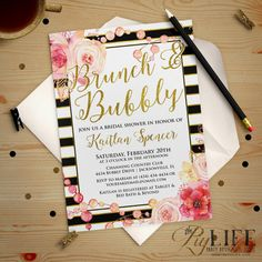 Bachelorette or Bridal Shower Invitation  Floral and by ThePIYLife