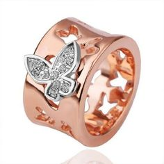18K Rose Gold Plated Butterfly Ring (Size 8)
