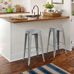 Best Choice Products presents this brand new set of two (2) backless metal bar stools. These stools are made of 100% sturdy steel, which offers a sleek look to