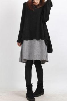 layered long dress black. $82.00, via Etsy.