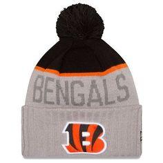 761080ea7c0 1 New Era Adult Cincinnati Bengals Cuffed Gray Sport Knit Pom Top Beanie Hat