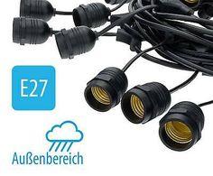 Lichterkette 14,4m außen mit 15x E27 Fassung IP65 wasserdicht, fertig montiert. Led, Binoculars, Headphones, Ebay, Plugs, Headpieces, Ear Phones