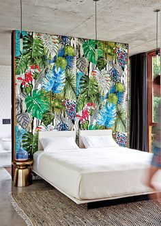 Bedroom of Jesse Bennett and Anne-Marie Campagnolo — The Design Files Style Tropical, Modern Tropical, Tropical Fabric, Tropical Interior, Tropical Design, Tropical Bedrooms, Tropical Houses, Tropical Paradise, Tropical Forest