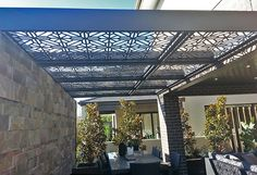 Decorative screen patio sun cover roof made in mild steel in our 'Washington' design. ~QAQ
