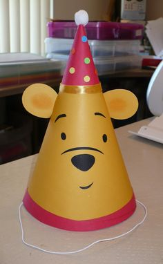 Winnine the Pooh Birthday Party Hat with a Party by CSCuteCrafts, $15.00