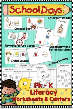 Six literacy center activities (with worksheets) to help you plan your first few weeks of school. All activities are in color and black and white. These three phonological awareness center activities will be a fun way for your young students hear the part