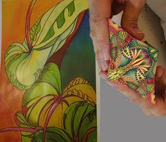 Cane and color inspiration by Paula Kennedy, Simmons Master Cane Workshop, Oct, 2014 CarolSimmonsDesigns.com