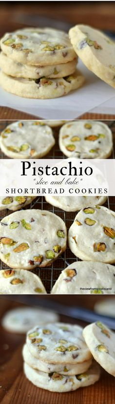 Pistachio Shortbread Cookies ~ a classic buttery shortbread slice and bake cookie loaded with fresh pistachios! #cookies #shortbread #shortbreadcookies #pistachiocookies #easycookies #recipe #holidaycookies #cookieswap #sliceandbake #nutcookies #nuts #Christmascookies