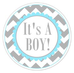 Baby Shower Labels Chevron It's A Boy Stickers by delightdesignbiz, $5.95