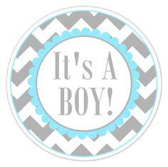 Baby Shower Labels Chevron It's A Boy Stickers by delightdesignbiz, $5.95