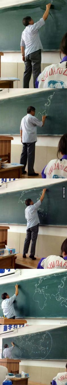 So...this geography teacher in China forgot to bring his map to class