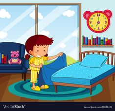 Girl in yellow pajamas making bed in bedroom vector image on VectorStock Preschool Writing, Preschool Learning Activities, Picture Comprehension, Autism Learning, Flashcards For Kids, Islamic Cartoon, Page Decoration, Islam For Kids, School Clipart