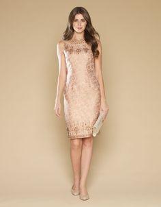 Geneveive Jacquard Dress | Nude | Monsoon