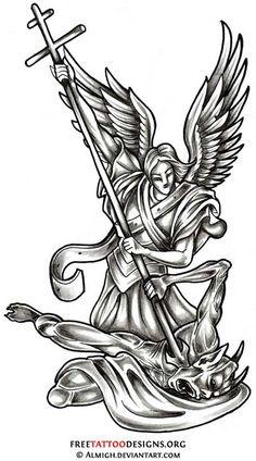 Angel slaying a demon